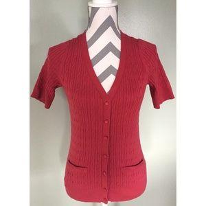 TALBOTS Red Pima Cotton Short Sleeve Cardigan SP